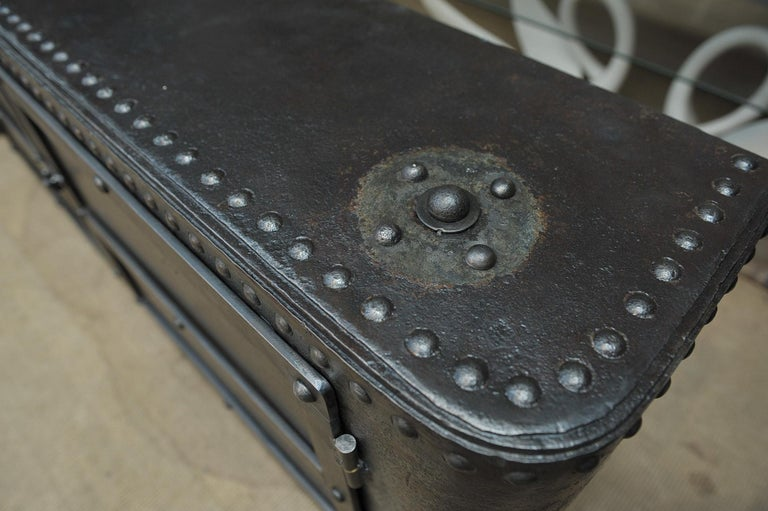 Industrial Riveted Iron Cabinet For Sale 5