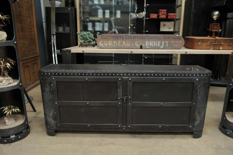 Industrial Riveted Iron Cabinet For Sale 6