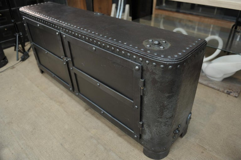 Old French factory tank open in industrial 2 doors buffet with inside recent arrangement made in old pine wood.