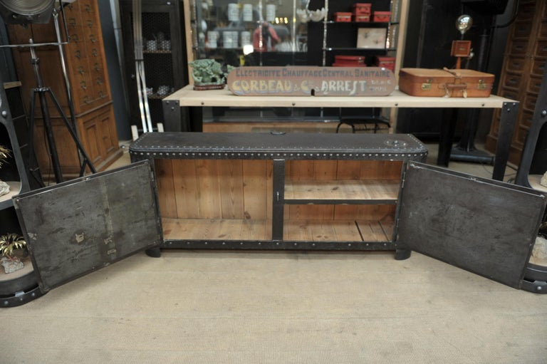 French Industrial Riveted Iron Cabinet For Sale