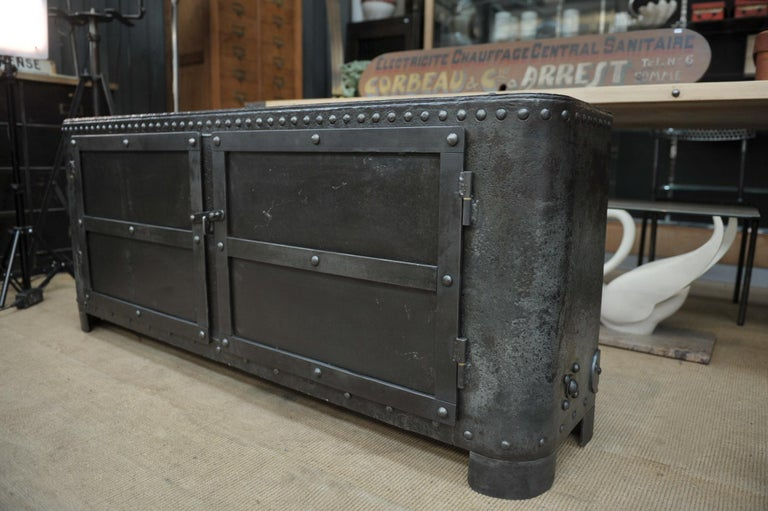 Early 20th Century Industrial Riveted Iron Cabinet For Sale