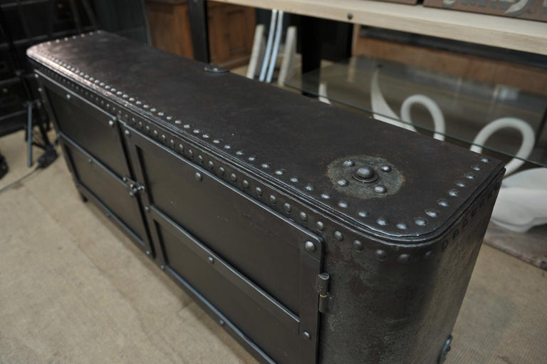 Industrial Riveted Iron Cabinet For Sale 1