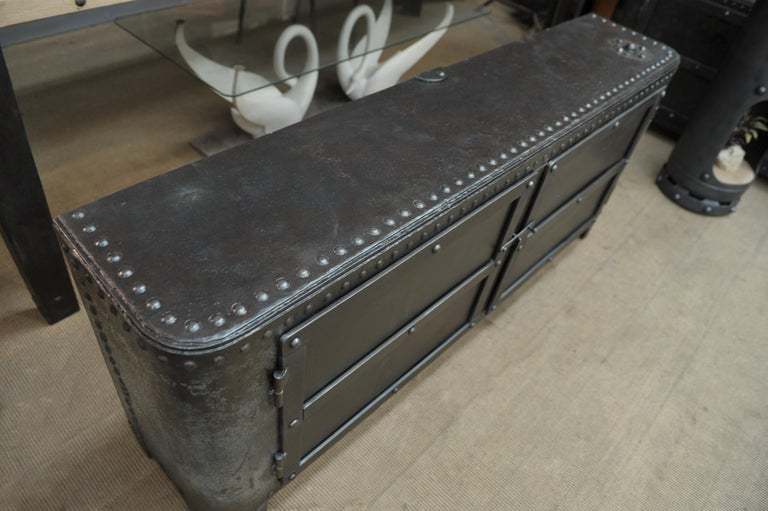 Industrial Riveted Iron Cabinet For Sale 2