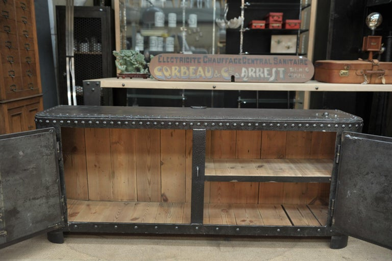Industrial Riveted Iron Cabinet For Sale 3