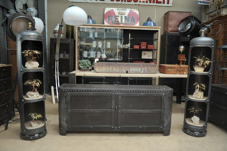 Industrial Riveted Iron Cabinet For Sale 4