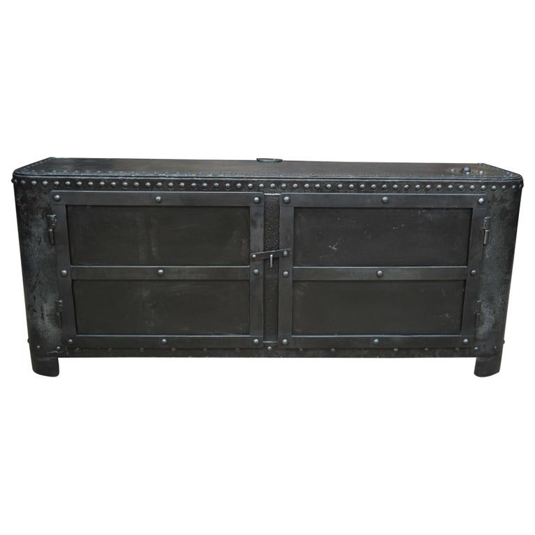 Industrial Riveted Iron Cabinet For Sale
