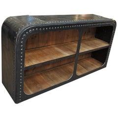 Industrial Riveted Iron Shelf Cabinet, circa 1900