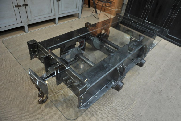 Industrial Riveted Iron Wagon Coffee Table, 1900 For Sale 4