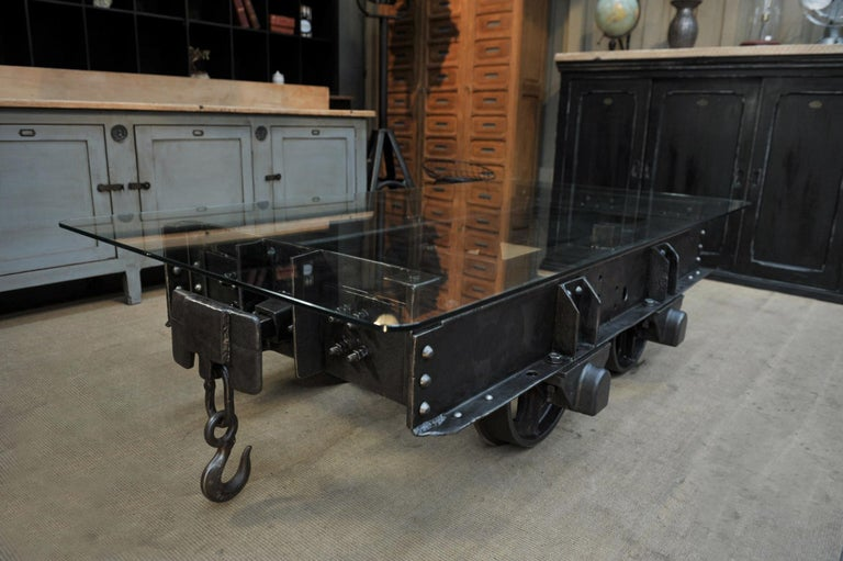 Art Nouveau Industrial Riveted Iron Wagon Coffee Table, 1900 For Sale