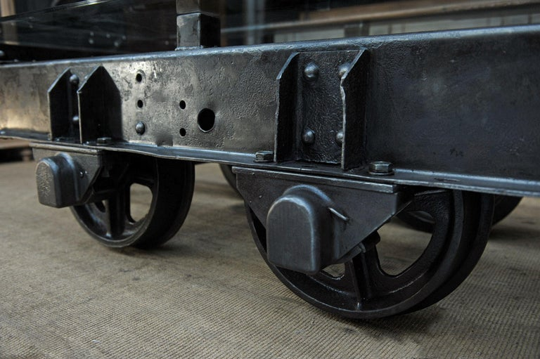French Industrial Riveted Iron Wagon Coffee Table, 1900 For Sale