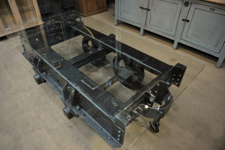 Tempered Industrial Riveted Iron Wagon Coffee Table, 1900 For Sale