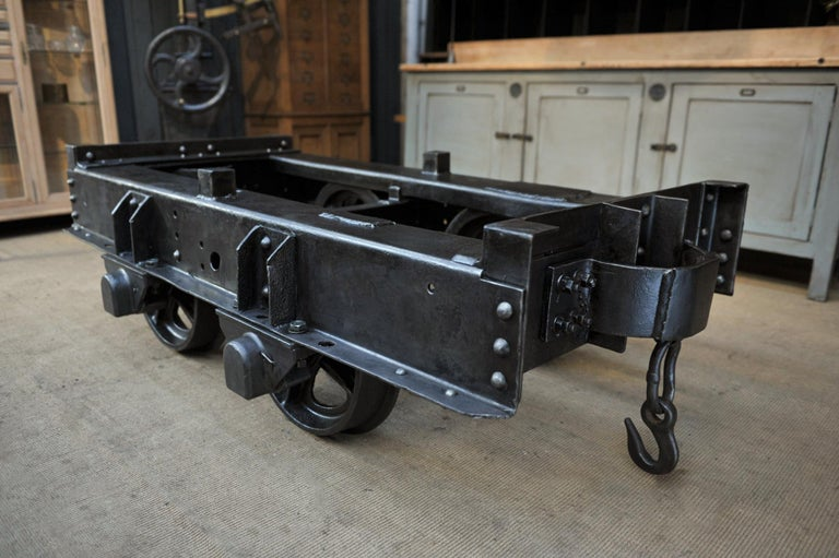 Industrial Riveted Iron Wagon Coffee Table, 1900 For Sale 2
