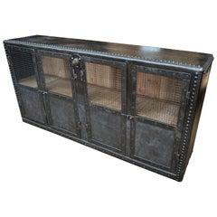 Industrial Riveted Metal 4 Mesh Doors Cabinet