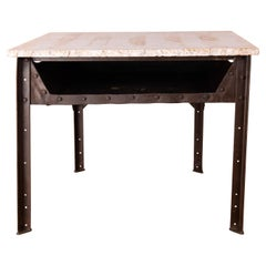 Industrial Riveted Steel Table with Marble Top