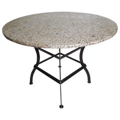 Industrial Round Granite Table