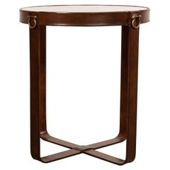 Industrial Round Leather End Table