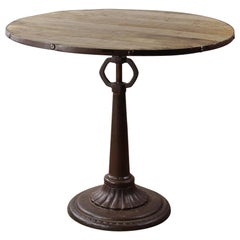 Industrial Round Wood Topped Cafe Tables, 20th Century