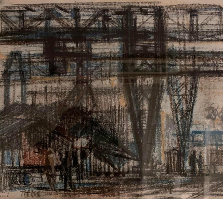 Contemporary painting of industrial scene by Hungarian artist Bizse Janos.