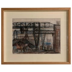 Industrial Scene Painting by Hungarian Artist Bizse Janos, Contemporary