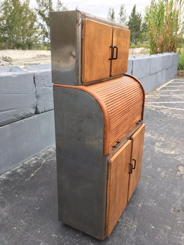 American Industrial Secretary Cabinet Art Deco Kitchen For Sale