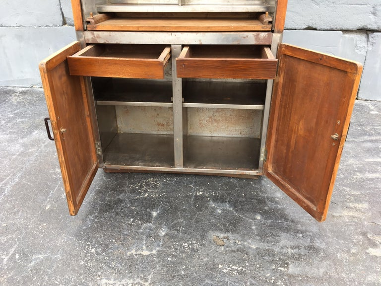 Early 20th Century Industrial Secretary Cabinet Art Deco Kitchen For Sale