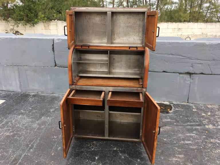 Metal Industrial Secretary Cabinet Art Deco Kitchen For Sale