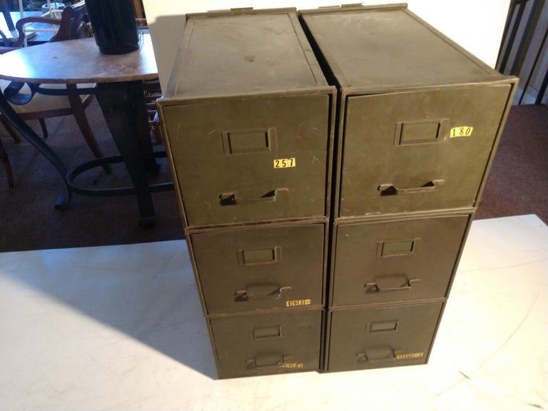 Stacking file cabinets which can be reconfigured in numerous ways. Each piece is 24.5 x 13 x 13. All in the original factory green. Great industrial look, can be used I kitchen, office, workshop etc.