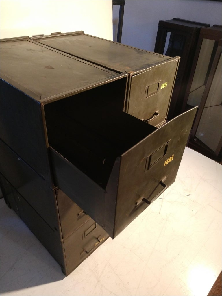 Mid-20th Century Industrial Shaw Walker Stacking File Cabinets Six in Original Green
