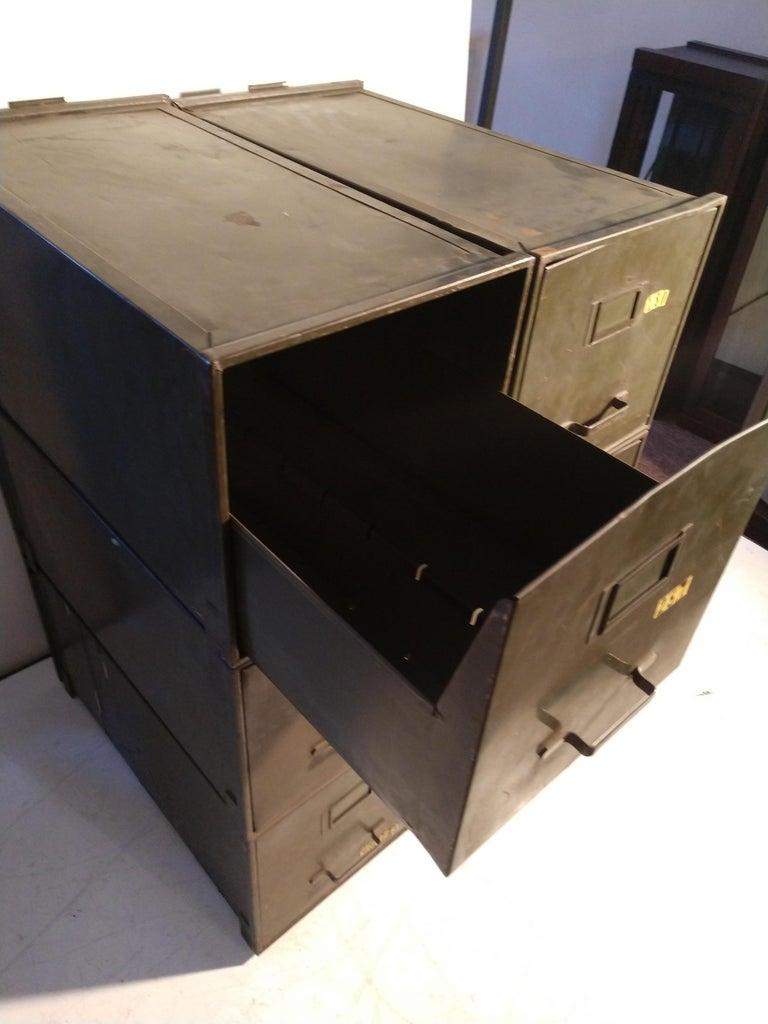 Steel Industrial Shaw Walker Stacking File Cabinets Six in Original Green