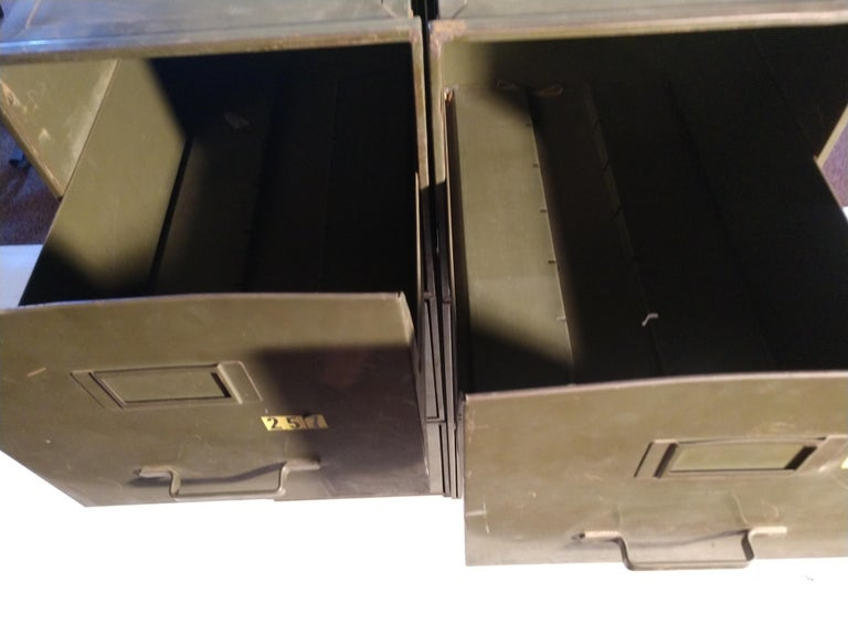 Industrial Shaw Walker Stacking File Cabinets Six in Original Green 1