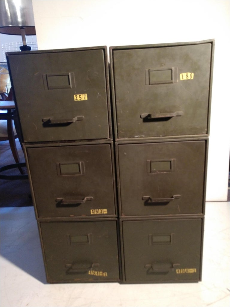 Industrial Shaw Walker Stacking File Cabinets Six in Original Green 2