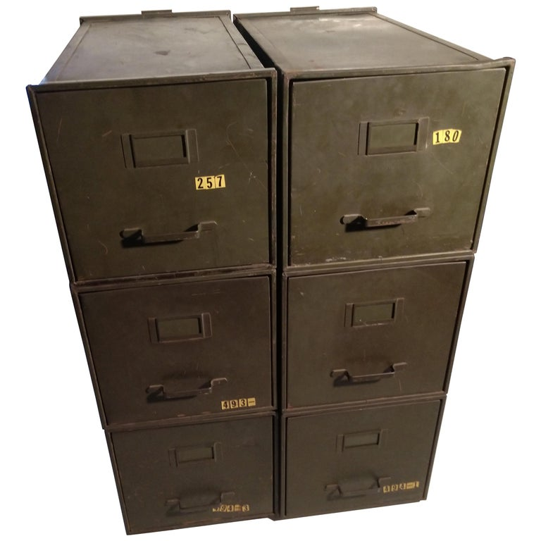 Industrial Shaw Walker Stacking File Cabinets Six in Original Green