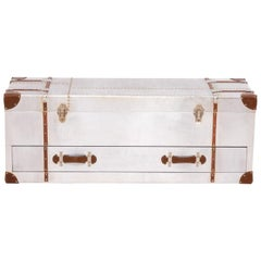 Industrial Silver Storage Trunk with Drawer