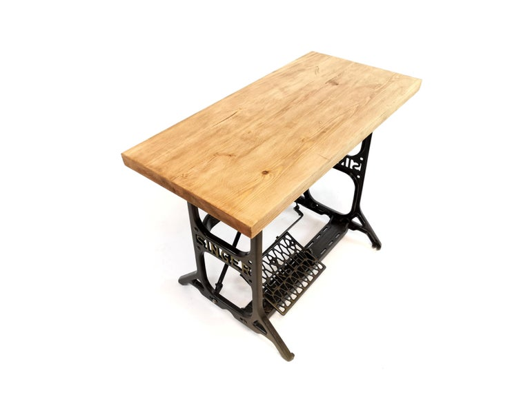 Mid-20th Century Industrial Singer Engineers Machinists Desk Table Bench Vintage Midcentury
