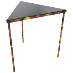 Industrial Smoked Glass and Steel Triangle Corner/ Side Table, 1990s