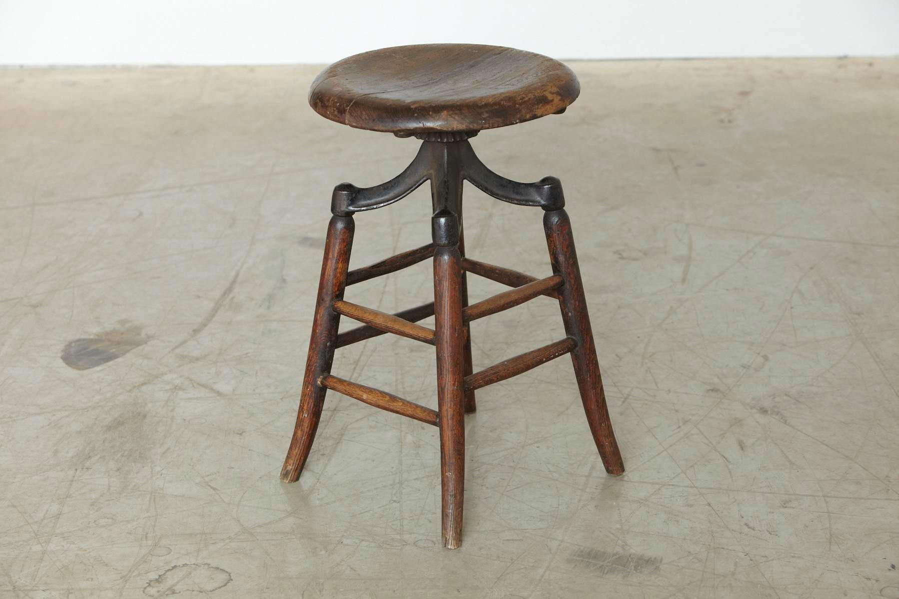Astonishing Industrial Solid Oak And Iron Workshop Stool Circa 1940S Ibusinesslaw Wood Chair Design Ideas Ibusinesslaworg