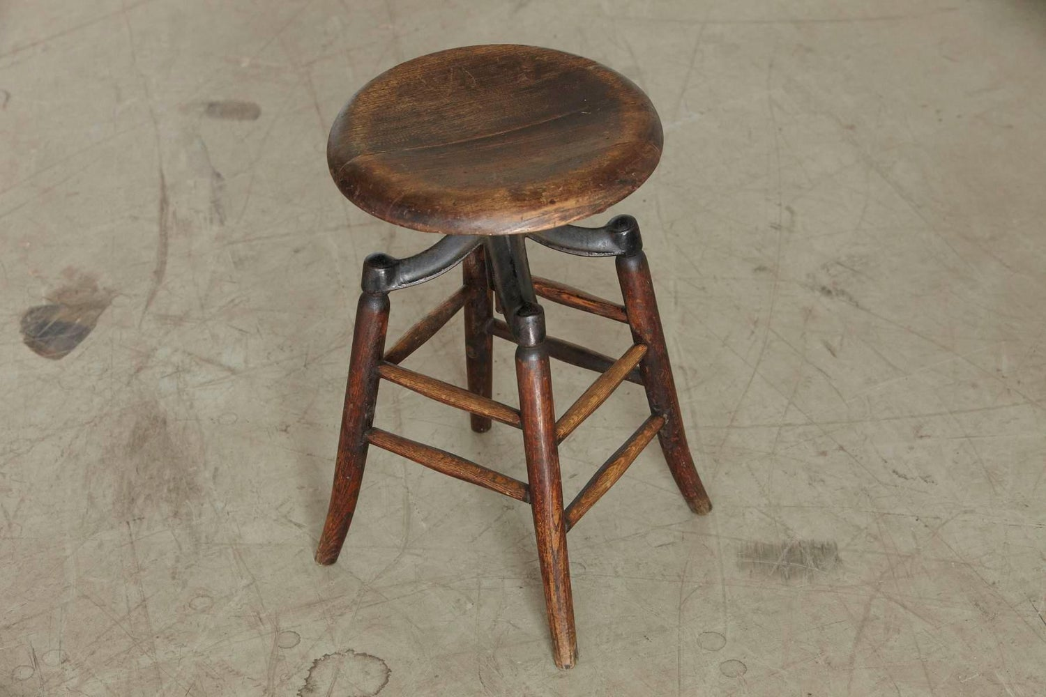 Terrific Industrial Solid Oak And Iron Workshop Stool Circa 1940S Ibusinesslaw Wood Chair Design Ideas Ibusinesslaworg