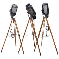 Industrial Spot Light Tripod Floor Lamps, 1970s, Set of 3