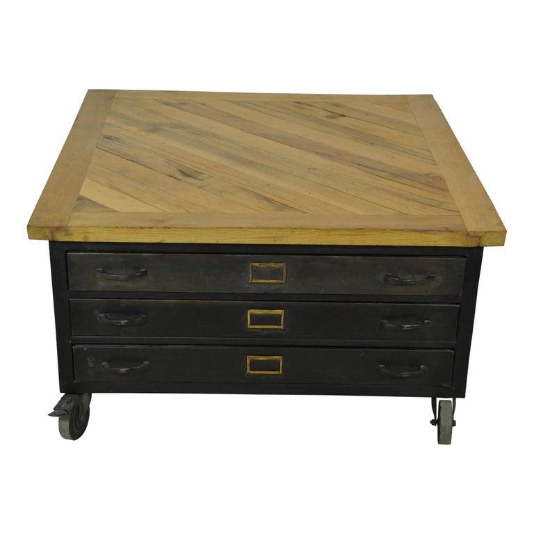 Industrial Square File Cabinet Coffee Table, Circa 1930