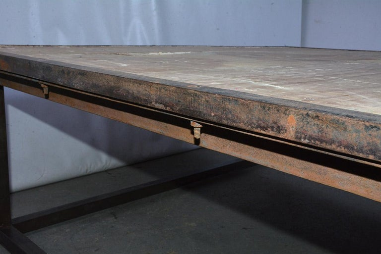 Industrial Square Slatted Wood Top Metal Base Coffee Table For Sale 4
