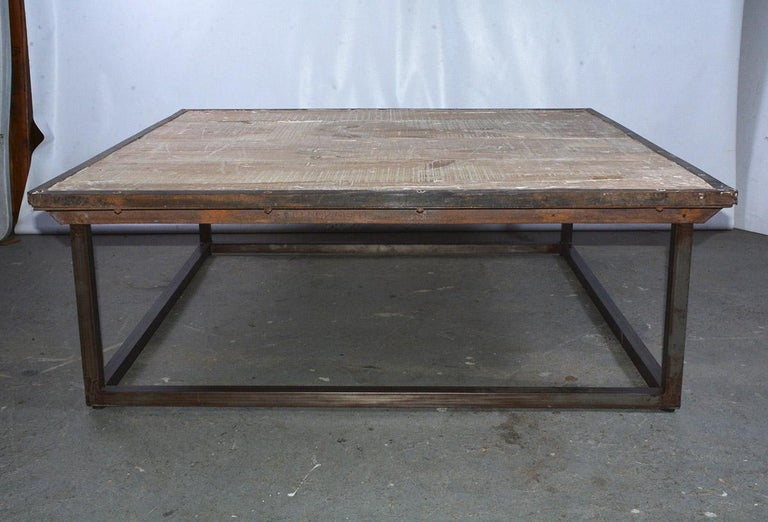 European Industrial Square Slatted Wood Top Metal Base Coffee Table For Sale
