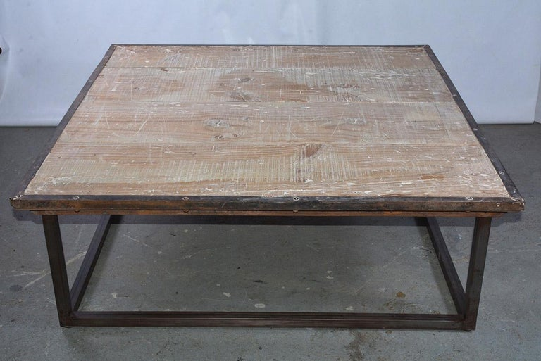 Industrial Square Slatted Wood Top Metal Base Coffee Table In Good Condition For Sale In Great Barrington, MA