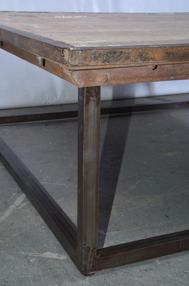 20th Century Industrial Square Slatted Wood Top Metal Base Coffee Table For Sale