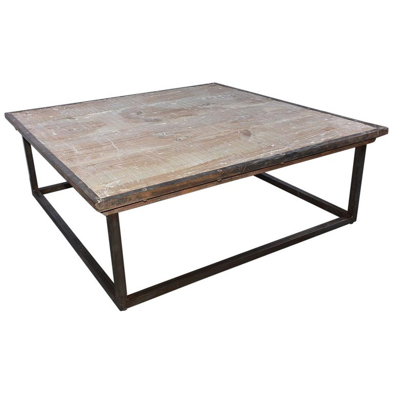 Industrial Square Slatted Wood Top Metal Base Coffee Table For Sale