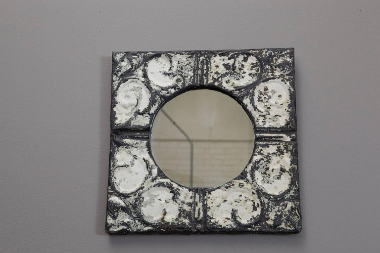Industrial Square Tin Ceiling Tile Mirror In Distressed Condition For Sale In Westport, CT