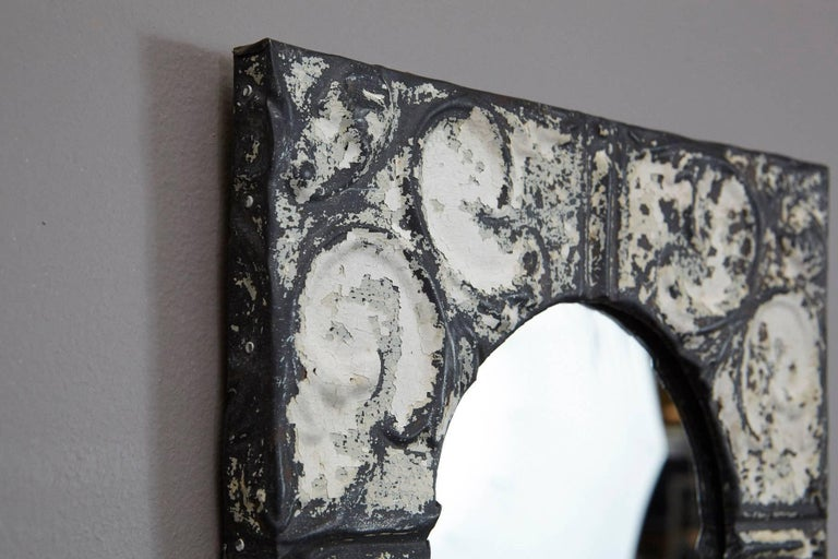 Early 20th Century Industrial Square Tin Ceiling Tile Mirror For Sale