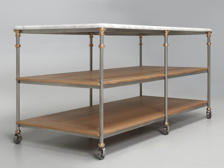 American Industrial Stainless and Bronze Kitchen Island from the Old Plank Collection For Sale