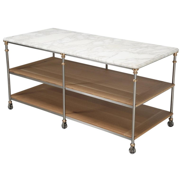 Industrial Stainless and Bronze Kitchen Island from the Old Plank Collection For Sale