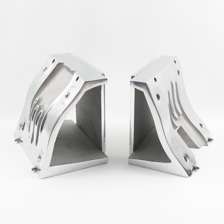 Industrial Stainless Steel Hand Mold Sculpture Bookends, a Pair In Excellent Condition For Sale In Atlanta, GA