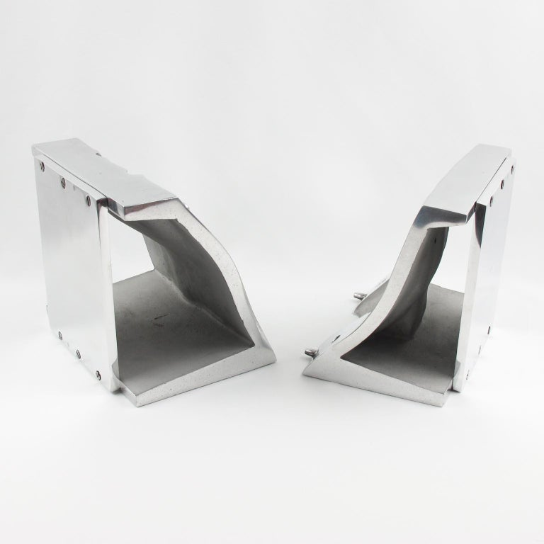 Metal Industrial Stainless Steel Hand Mold Sculpture Bookends, a Pair For Sale